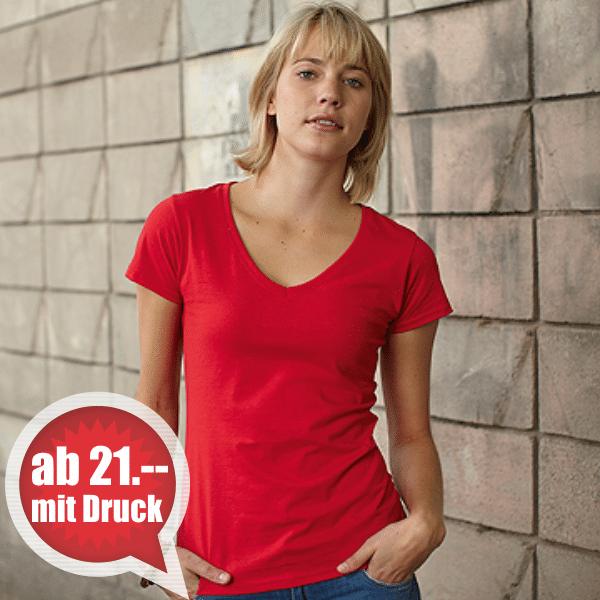 T-Shirt bedrucken aus der Schweiz - Fruit of the Loom Lady V-Neck